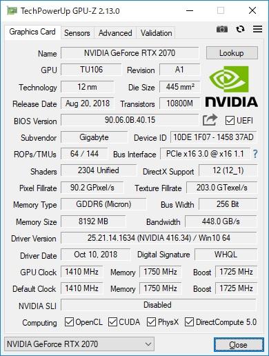 NVIDIA GeForce RTX 2070性能跑分和游戏测试评测