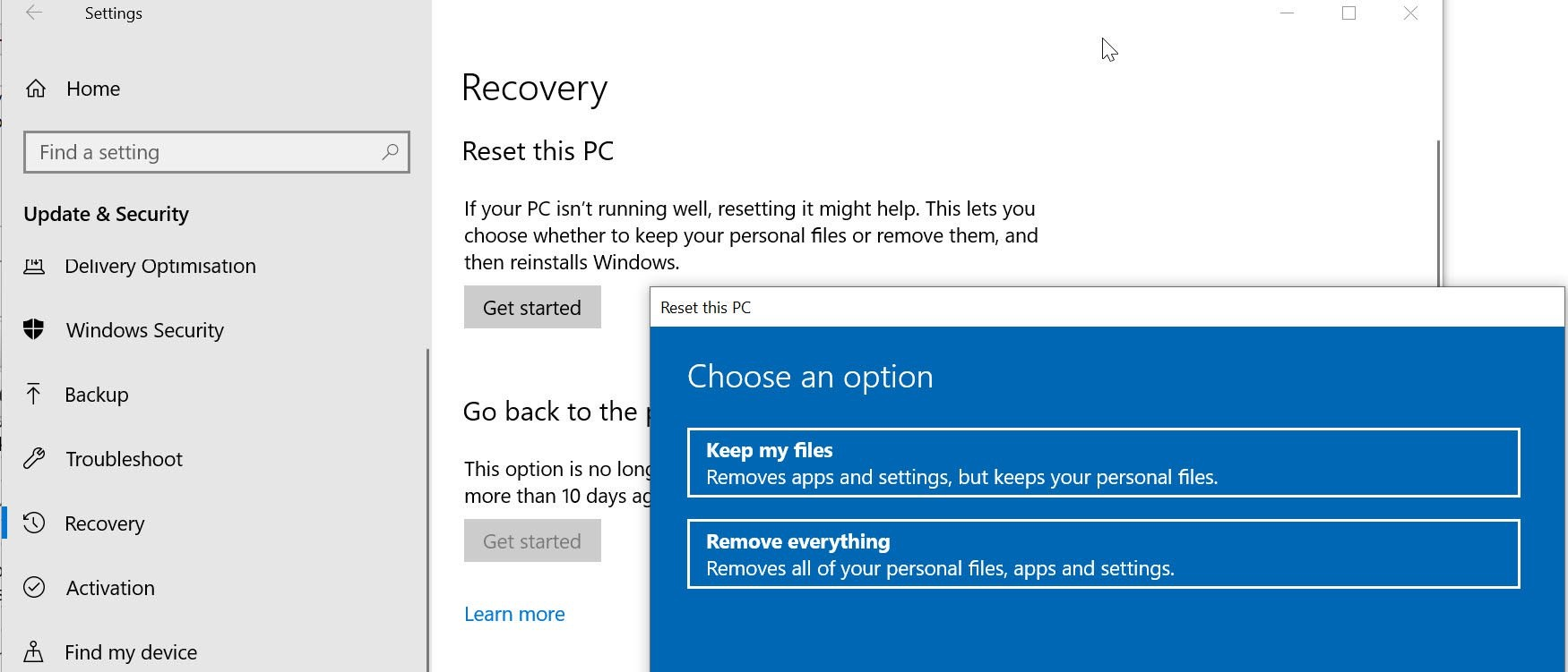 如何降级Windows 10
